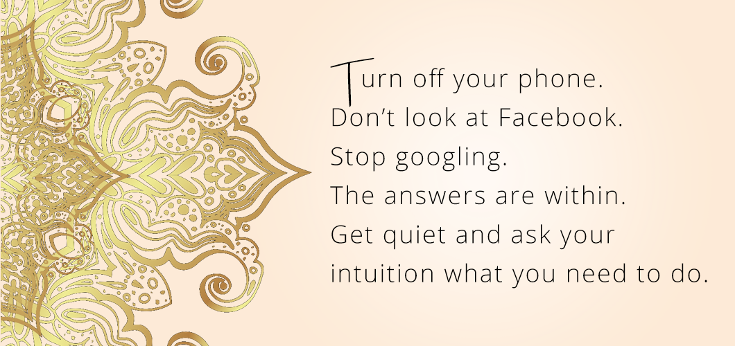 Turn off your phone. Don't look at Facebook. Stop googling. The answers are within. Get quiet and ask your intuition what you need to do.